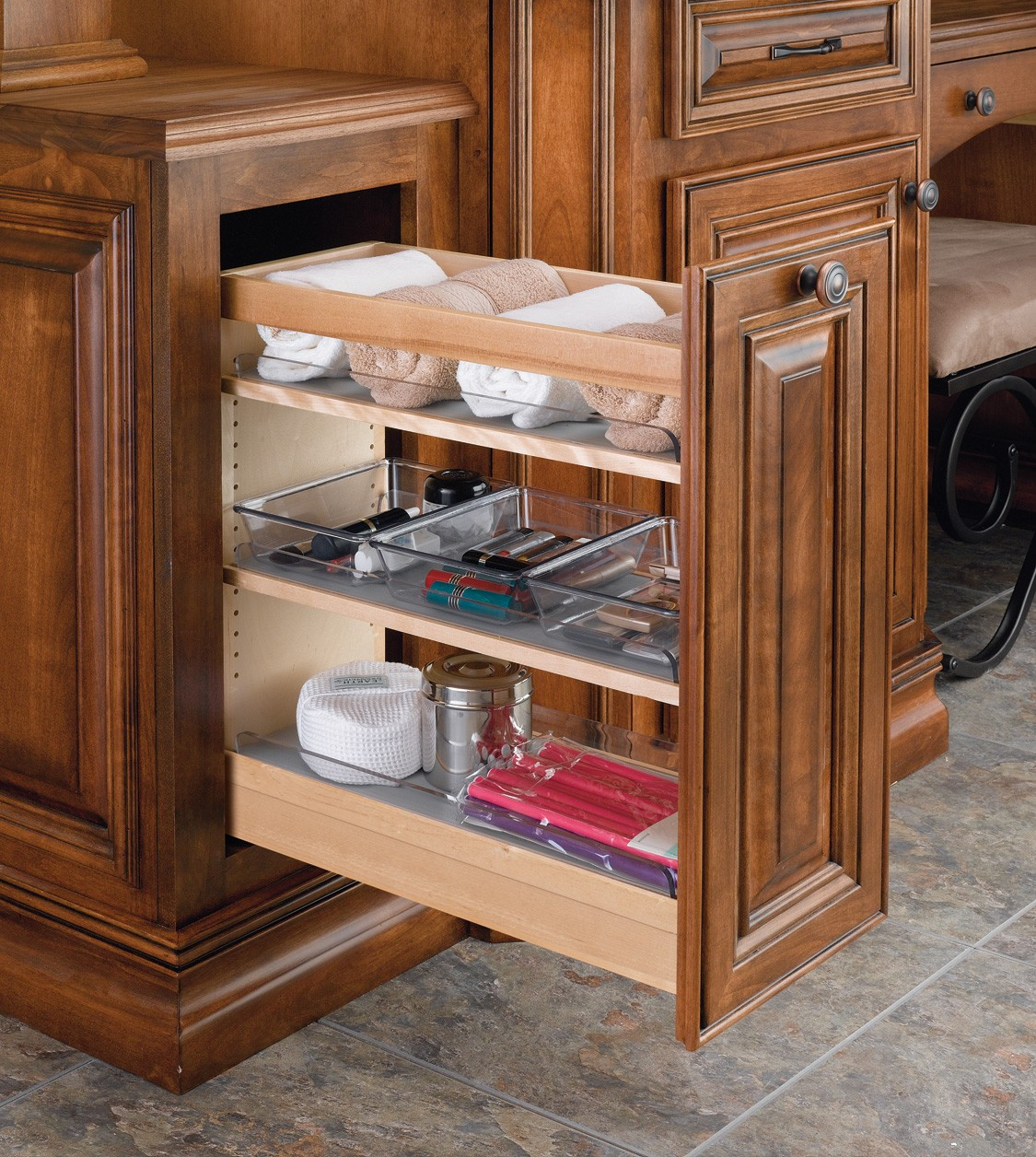 8 vanity pull out organizer w 6 poly bins 448 vc20 8 rev a shelf for Pull out shelves for bathroom vanity