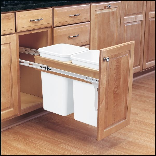 27 Best Shelves Under Cabinet Images On Pinterest: Double 27 Qt Top Mount Wood Pull-Out Waste Container