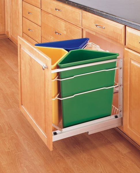 Kitchen Recycling Bins For Cabinets: 25 Qt. Tri-Color Recycle Center, 5349-9WM-C (Rev A Shelf