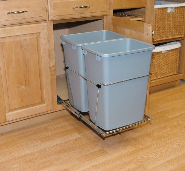 Double 35 qt containers full extension slides rv 18kd for Extension container