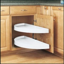 "13 1/4"" Pivot Out Half Moon Shelves (White)"