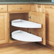 """16 1/8"""" Pivot and Bottom Slide Half Moon Pull Out (White)"""