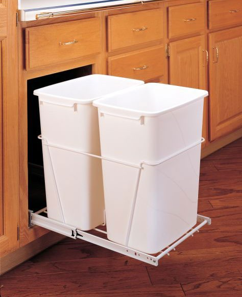 double 35 qt waste container white rv 18pb 2 s rev a shelf. Black Bedroom Furniture Sets. Home Design Ideas