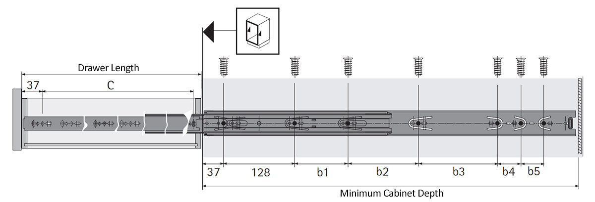 KA 5632 Full Extension Soft Close Drawer Slide Diagram